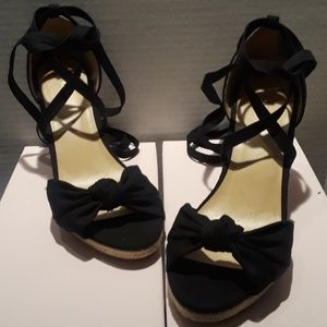 Apt. 9 Black Womens Wedge Sandals